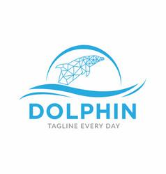 Dolphin tech logo design template vector