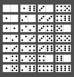 domino bones full set 28 pieces for game vector image
