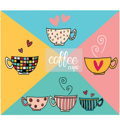 doodle hand drawing set of coffee cups vector image