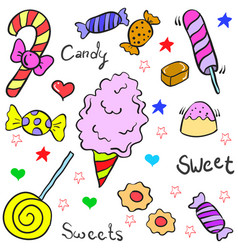 Doodle of many candy various vector