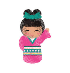 Drawing japanese doll geisha folk image vector
