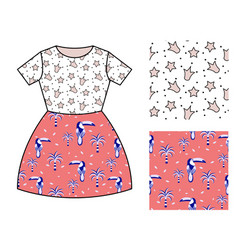 dress pattern design for girls crowns and toucan vector image