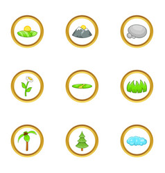 Eco nature icon set cartoon style vector