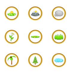 Eco nature icon set cartoon style vector