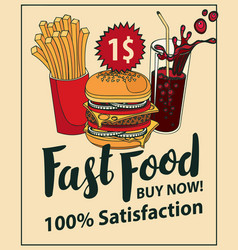 Fast food banner with cola hamburger and fries vector