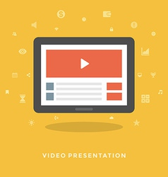 Flat design business concept video marketing vector