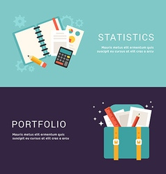 Flat Design Concept for Web Banners Statistics and vector