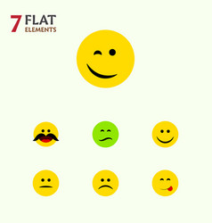 flat icon face set of cheerful delicious food vector image