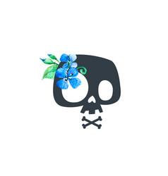 floral human skull black blue print badge flower vector image