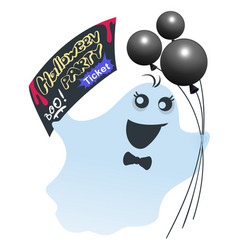 funny ghost with black balloons holds ticket for vector image