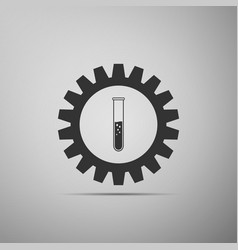 gear and test tube icon on grey background vector image