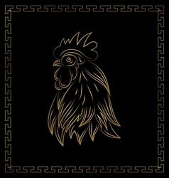 golden cock chinese calendar symbol 2017 year vector image