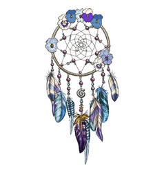Hand drawn ornate dreamcatcher with blue flowers vector