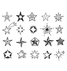 hand drawn stars sketch star shapes black vector image