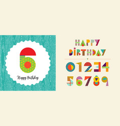 happy birthday age number card template set vector image