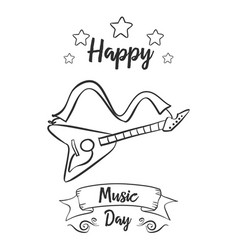 Happy music day greeting card style collection vector