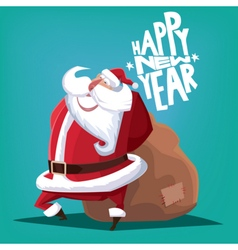 Happy New Year Santa Claus with gift bag vector