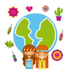 Hippies scenery cartoon vector
