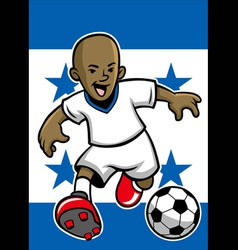 Honduras soccer player with flag background vector