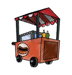 hot dog cart vector image
