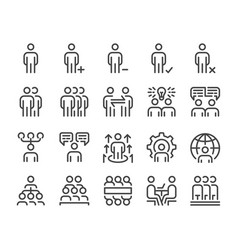Human resource and business people line icon set vector