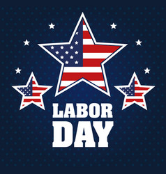 Labor day stars with united states flag blue vector