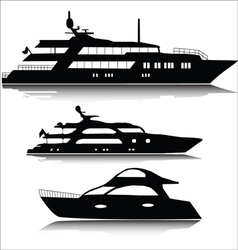 Large yachts silhouettes vector