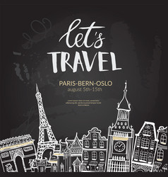 Let s travel lettering quote typographic banner vector