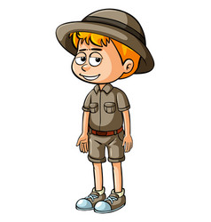 Little boy in safari outfit vector