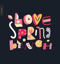love spring bench fun lettering vector image