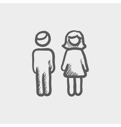 Male and female couple sketch icon vector image