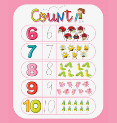 Math counting number worksheet vector