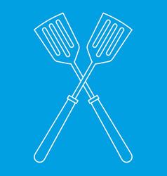 Metal spatulas icon outline style vector