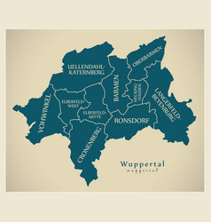 Modern city map - wuppertal city of germany with vector
