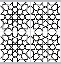moroccan black and white tiles pattern vector image