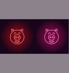 neon piglet face in red and pink color vector image