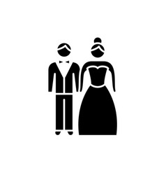 newlyweds black icon sign on isolated vector image