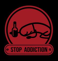 no drugs label campaign stop addiction alcohol vector image