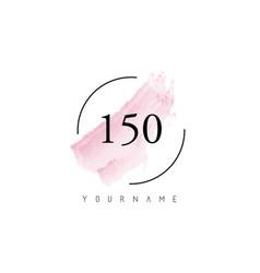 Number 150 watercolor stroke logo design vector