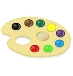 palette with paints and brush isolated vector image