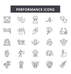 Performance line icons signs set outline vector