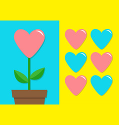 Pink blue heart icon set flower pot cute plant vector