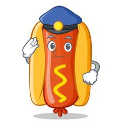 Police hot dog cartoon character vector