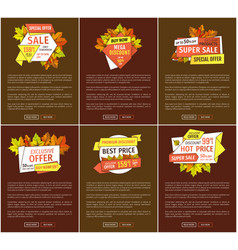 promo autumn or fall discounts half price adverts vector image