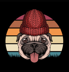 pug dog retro vector image