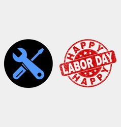 repair tools icon and grunge happy labor vector image