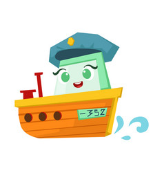 river patrol orange boat cute girly toy wooden vector image