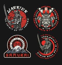 Samurai vintage labels set vector