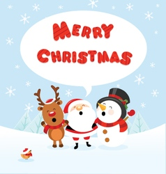 Santa Snowman and Reindeer Celebrating Christmas vector image