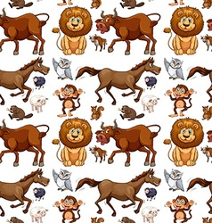 Seamless background with wild animals vector image